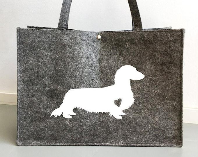 Felt bag long-haired Dachshund - Teckel dog silhouette