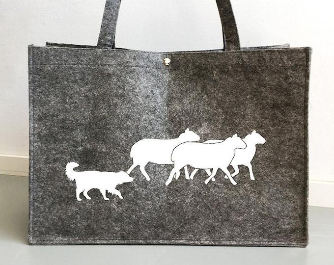 Felt bag Australian Shepherd dog silhouette
