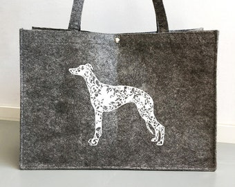 Felt dog bag Whippet dog silhouette