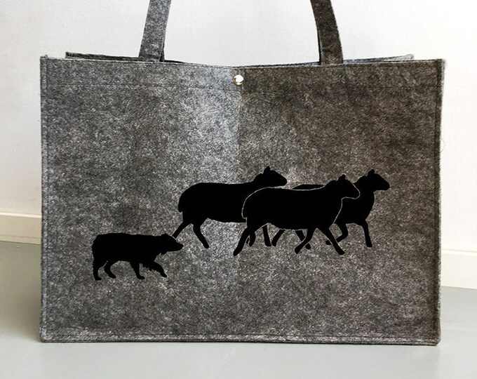 Felt bag Australian Shepherd herding sheep dog silhouette