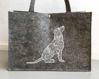 Felt bag Labrador retriever dog silhouette