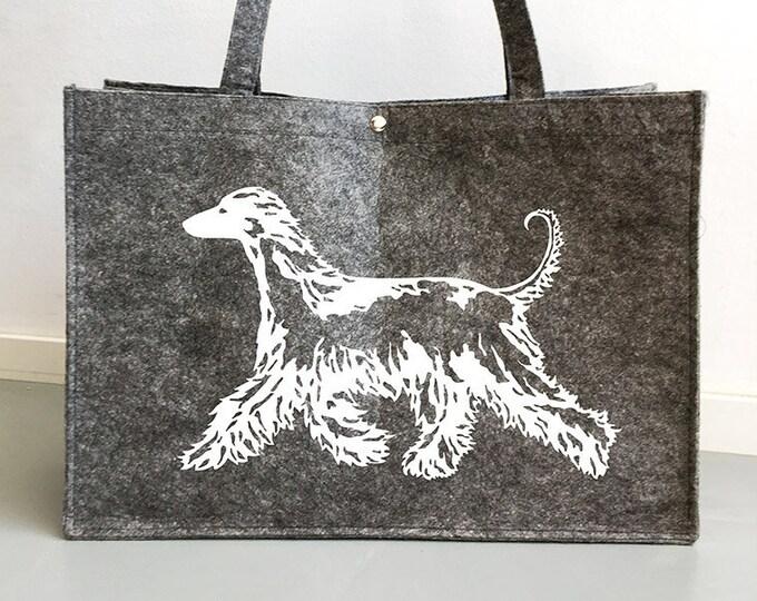Felt bag Afghan hound dog silhouette