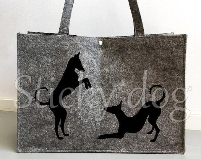 Felt bag Pocenco Ibicenco playing dog silhouette