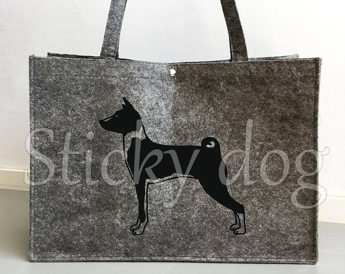 Felt bag Basenji dog silhouette