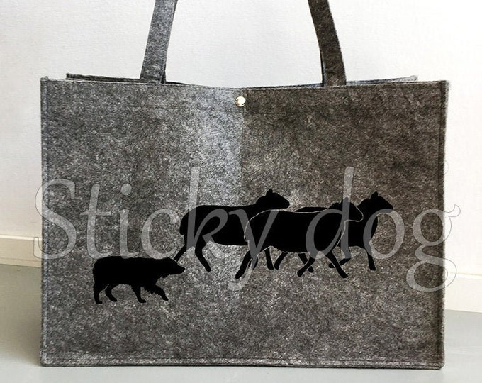 Felt bag Australian Shepherd herding sheep dog silhouette