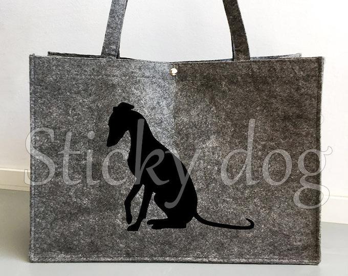 Felt dog bag Whippet double running silhouette