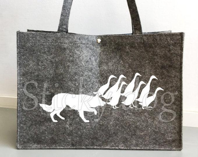 Felt bag Border Collie dog silhouette