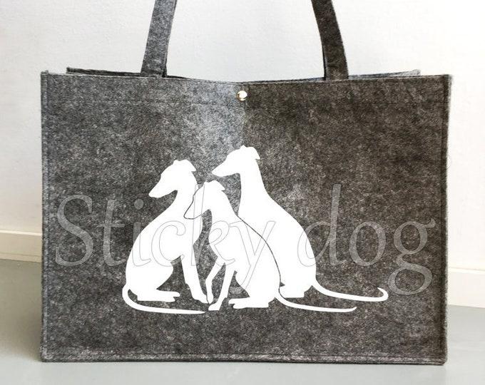 Felt dog bag running Whippet dog silhouette