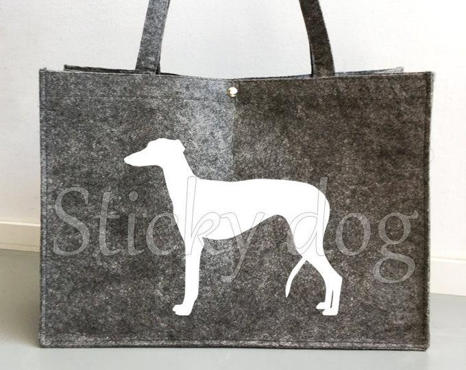 Felt bag Galgo Español dog silhouette