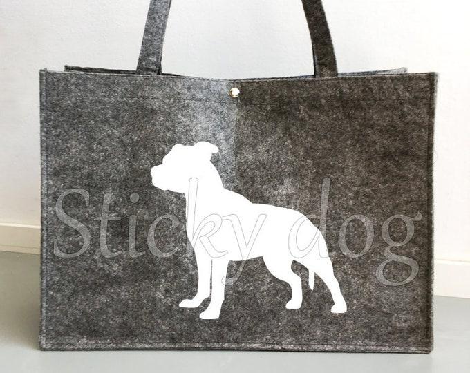 Felt bag Staffordshire Bull Terrier dog silhouette