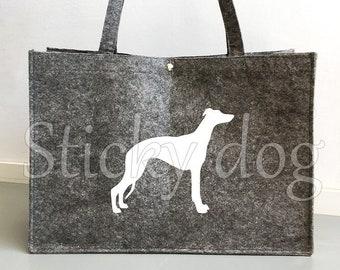 Felt dog bag Whippet dog silhouette