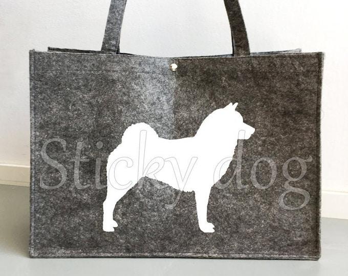 Felt bag Shiba inu dog silhouette