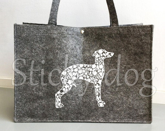 Felt bag Italian greyhound/ sighthound silhouette