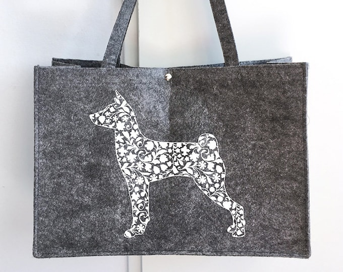 Felt bag Basenji dog silhouette