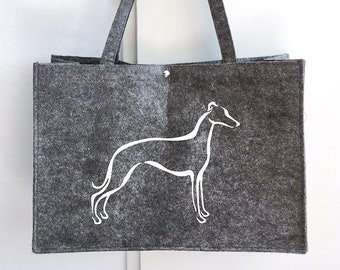 Felt dog bag Whippet tribal dog silhouette