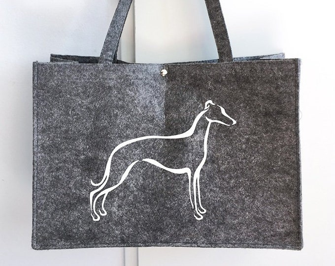 Felt bag Whippet tribal dog silhouette