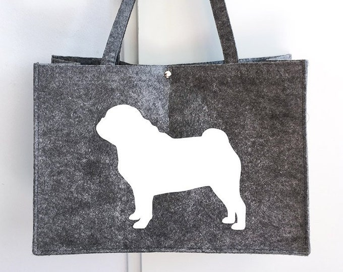 Felt bag Pug silhouette dog sticker