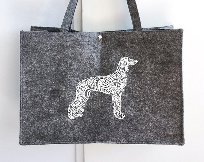 Felt bag Saluki dog silhouette
