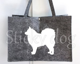 Felt bag Finnish Lapphund dog silhouette