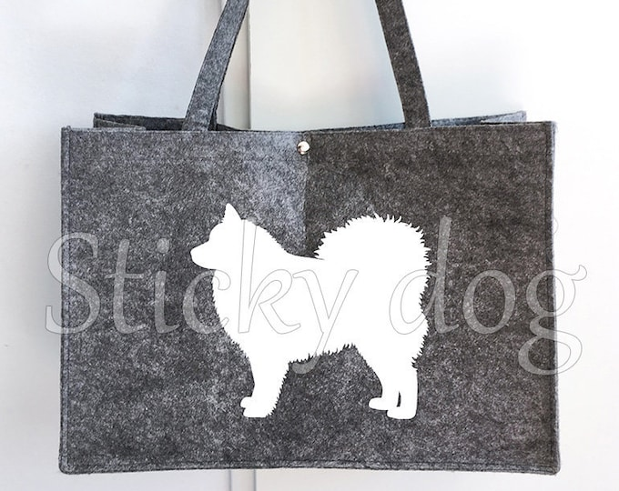 Felt bag Finnish Lapphund dog silhouette