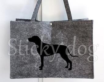 Felt bag Rhodesian Ridgeback dog silhouette