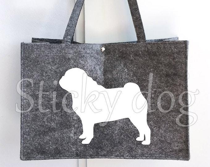Felt bag Pug silhouette dog sticker