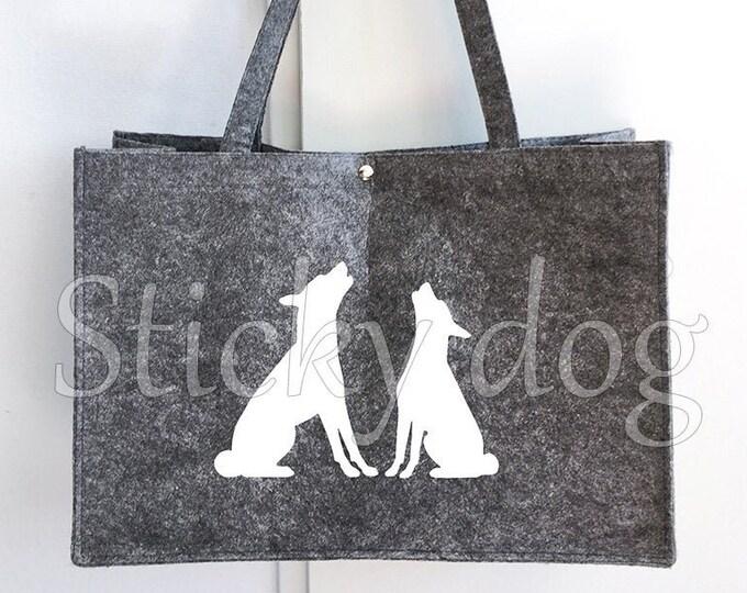 Felt bag Basenji baroo dog silhouette