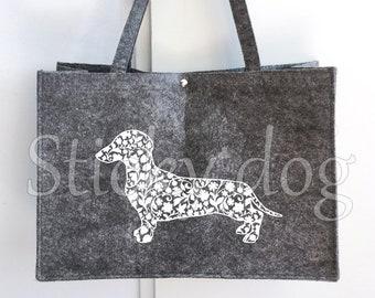Felt dog bag smooth-haired Dachshund - Teckel