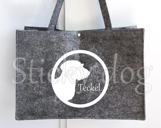 Felt bag Wire-haired Dachshund - Teckel dog silhouette