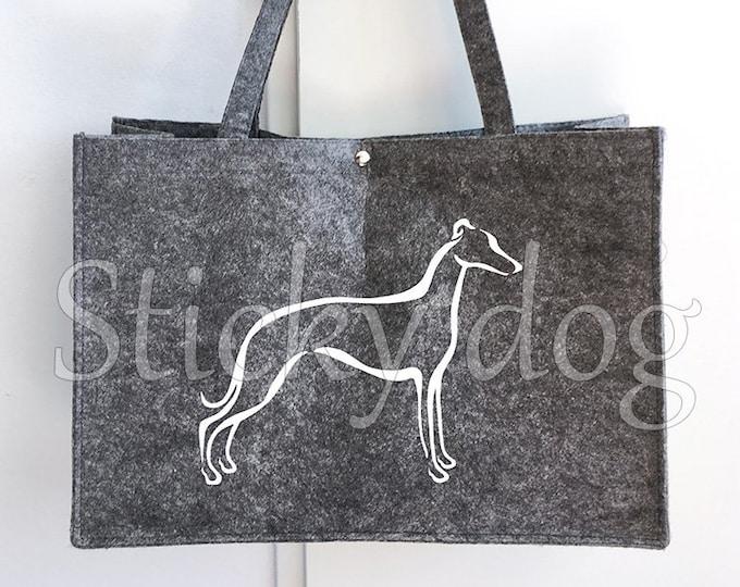 Felt dog bag Whippet tribal dog silhouette
