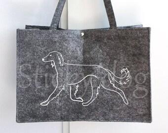 Felt bag Saluki dog silhouette