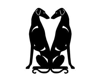 Sloughi Double sitting dog silhouette, LeChienArtistiQ