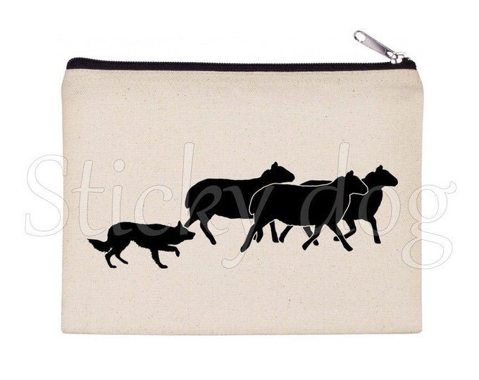 Border Collie dog silhouette pencil bag / Beaty case / pouch