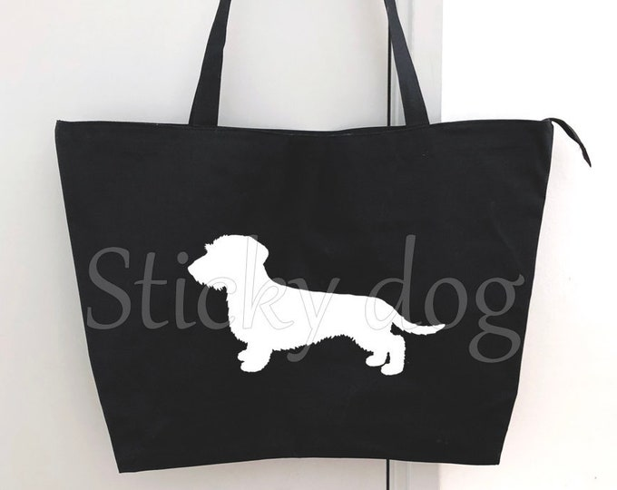 Big shopper bag Wire-haired Dachshund - Teckel dog silhouette