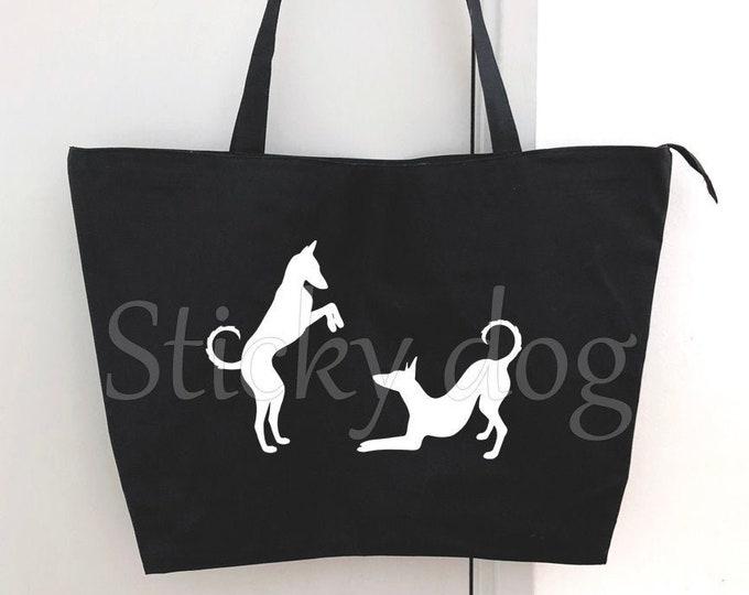 Big shopper bag Podenco Ibicenco dog silhouette