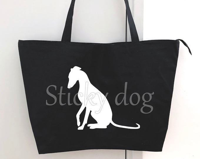 Big shopper bag Whippet dog silhouette