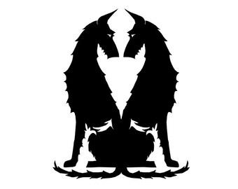 Podenco ibicenco wire haired dog silhouette sticker, LeChienArtistiQ