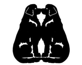 Newfoundland dog Double sitting dog silhouette, LeChienArtistiQ
