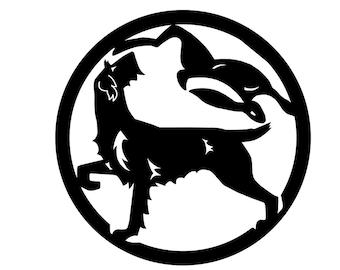 German Wirehaired Pointer circle with rabbit dog silhouette sticker, LeChienArtistiQ