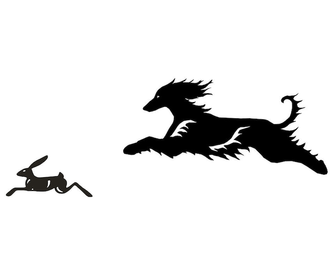 Afghan hound with hare, dog silhouette sticker, LeChienArtistiQ