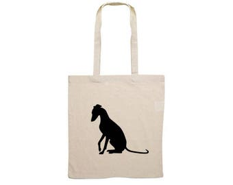Canvas bag Whippet sitting dog silhouette