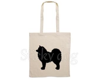 Canvas bag Samojeed dog silhouette