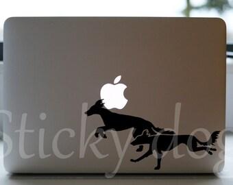 Saluki running silhouette dog sticker