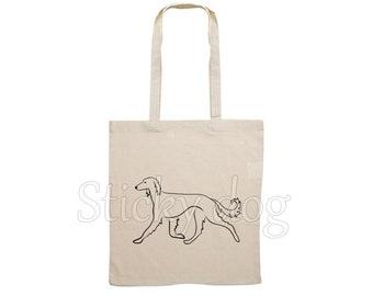 Canvas dog bag Saluki silhouette