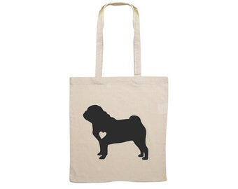 Canvas bag Pug dog silhouette