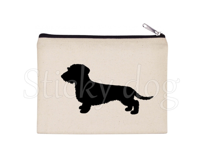 Long-haired Dachshund - Teckel dog silhouette pencil bag/ Beaty case / pouch