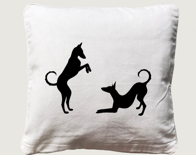 Cushion cover with print Podenco Ibicenco silhouette