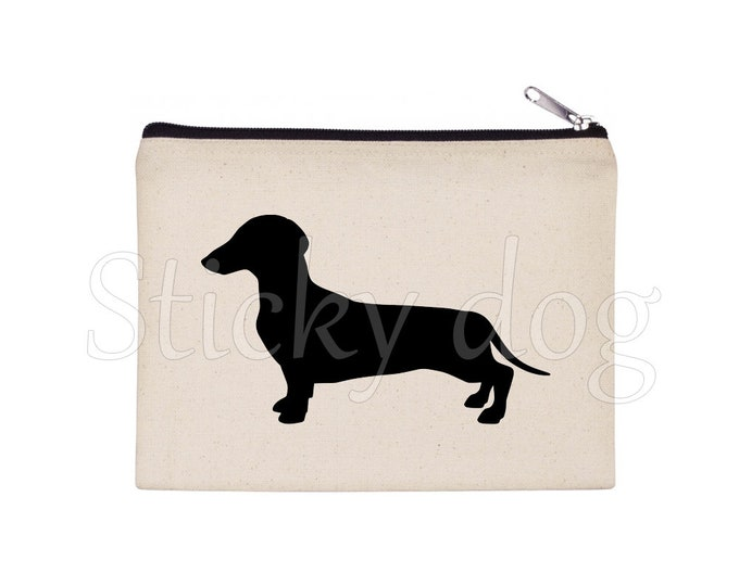 Short-haired Dachshund - Teckel dog silhouette pencil bag/ Beaty case / pouch