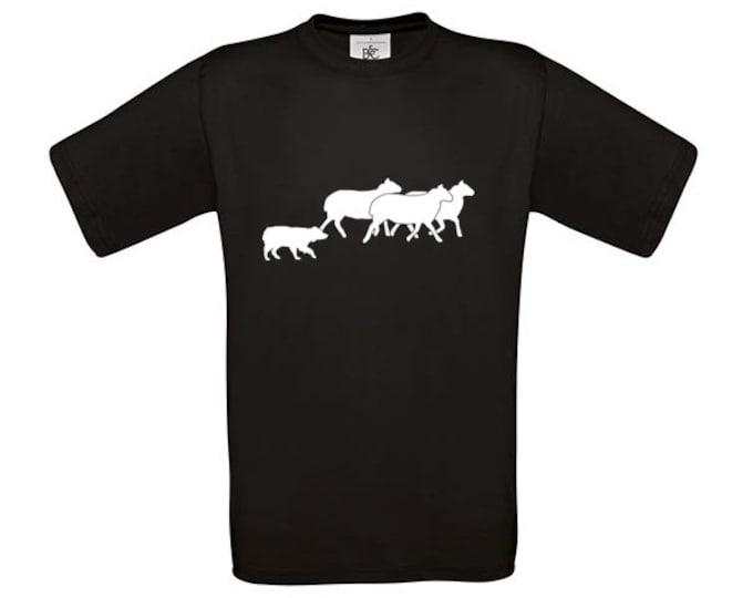 T-shirt Australian Shepherd dog silhouette working with sheeps