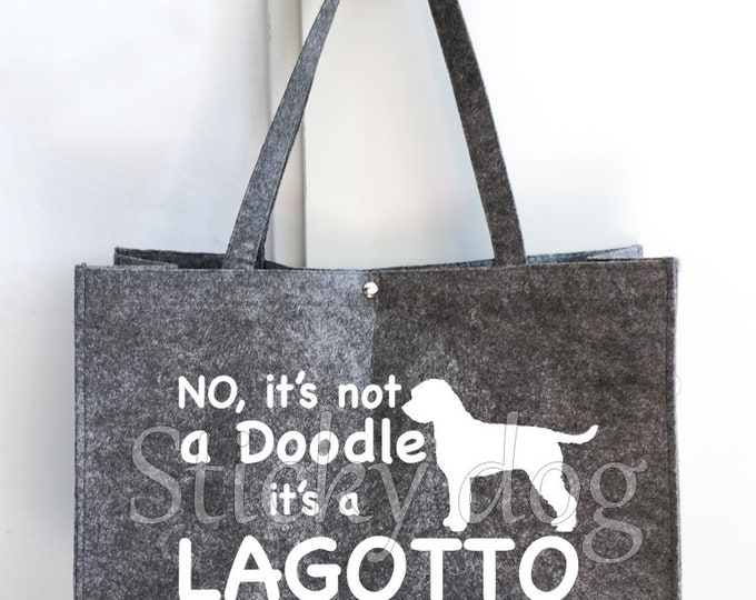 Felt bag Lagotto Romagnolo silhouette sticker